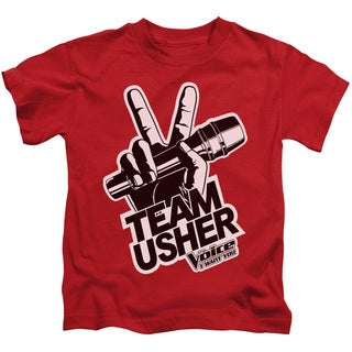 The Voice/Usher Logo Short Sleeve Juvenile Graphic T-Shirt in Red