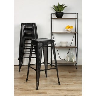 Kate and Laurel Tallis Backless Metal Mesh Stackable Lightweight Bar Stools (Set of 4)