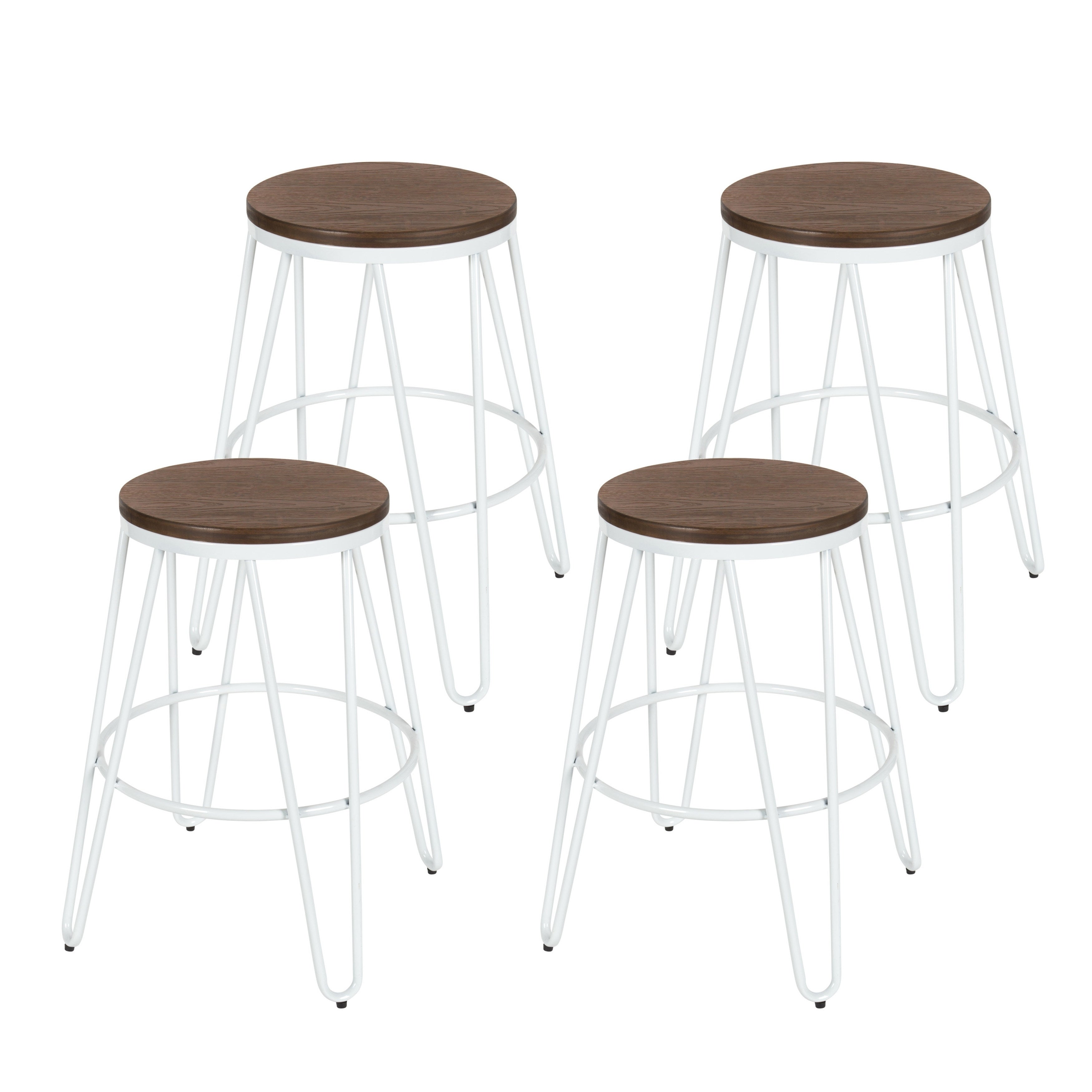 Carbon Loft Hall Backless Two Tone Wood And Metal Bar Stools (Set Of 4