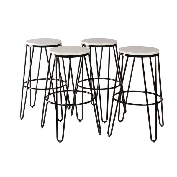 Carbon Loft Hall Backless Two-tone Wood and Metal Bar Stools (Set of 4)