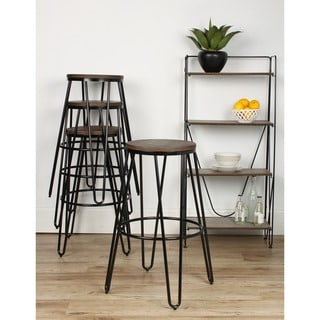 Kate and Laurel Tully Backless Two-tone Wood and Metal Bar Stools (Set of 4)