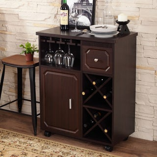 Furniture of America Crestall Multi-Storage Espresso Mobile Wine Bar Cabinet