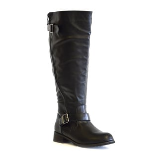 Melissa Faux-leather Curved Side-zipper Detail Wide-calf Boots