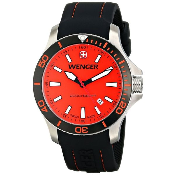 Wenger Men's 'Sea Force' Black Silicone Watch