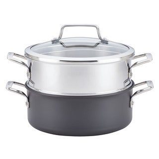 Anolon(r) Authority(tm) Hard-Anodized Nonstick Covered Dutch Oven with Steamer Insert, 5-Quarts, Gray