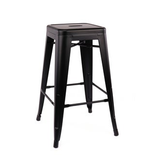 Amalfi Matte Black Steel Stackable Counter Stool 26-inch (Set of 4)