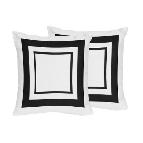 Sweet Jojo Designs White and Black Hotel Decorative Accent Throw Pillow (Set of 2)