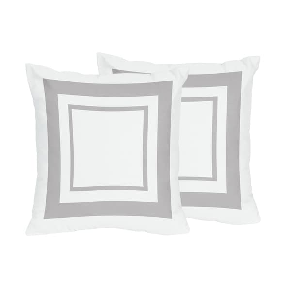Sweet Jojo Designs White and Grey Hotel Decorative Accent Throw Pillow (Set of 2)