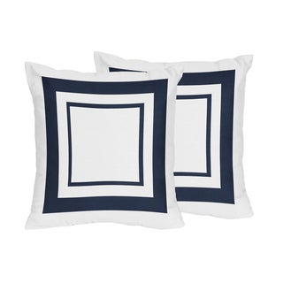 Sweet Jojo Designs White and Navy Hotel Decorative Accent Throw Pillow (Set of 2)