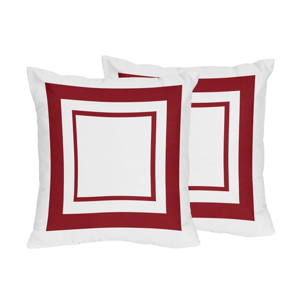 Sweet Jojo Designs White and Red Hotel Decorative Accent Throw Pillow (Set of 2)