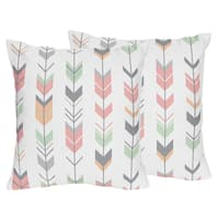 Sweet Jojo Designs Coral and Mint Mod Arrow Decorative Accent Throw Pillow (Set of 2)