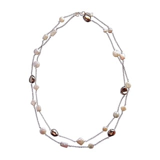 55-inch Sterling Silver Bead and Pearl Strand Necklace