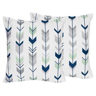 Sweet Jojo Designs Grey and Mint Mod Arrow Decorative Accent Throw Pillow (Set of 2)