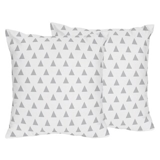 Sweet Jojo Designs Grey and White Triangle Print Decorative Accent Throw Pillows for Grey Mint Mod Arrow Collection (Set of 2)