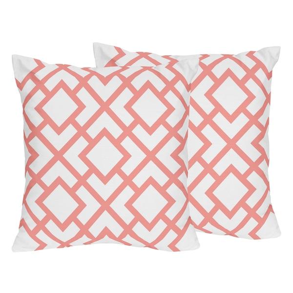 White Decorative Pillow Set : Sweet Jojo Designs White and Coral Mod Diamond Decorative Accent Throw Pillow (Set of 2) - Free ...