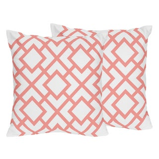 Sweet Jojo Designs White and Coral Mod Diamond Decorative Accent Throw Pillow (Set of 2)