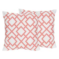 Sweet Jojo Designs White and Coral Mod Diamond Decorative Accent Throw Pillow (Set of 2) - White/Coral