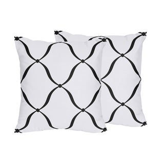 Sweet Jojo Designs Black/ White/ Purple Princess Decorative Accent Throw Pillow (Set of 2)