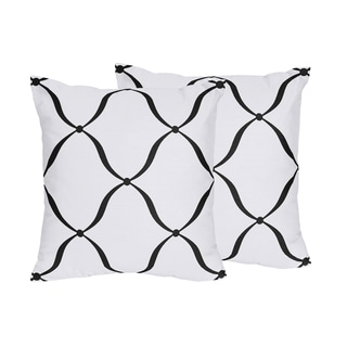Sweet Jojo Designs Black/ White/ Pink Princess Decorative Accent Throw Pillow