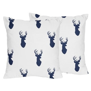 Sweet Jojo Designs Woodland Deer Decorative Accent Throw Pillow (Set of 2)