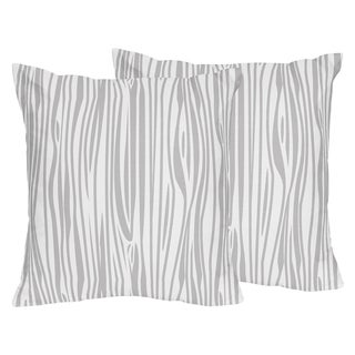 Sweet Jojo Designs Navy and White Woodland Deer Wood Grain Print Decorative Accent Throw Pillow (Set of 2)