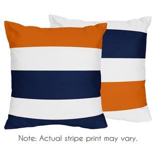 Sweet Jojo Designs Navy Blue and Orange Stripe Decorative Accent Throw Pillow (Set of 2)
