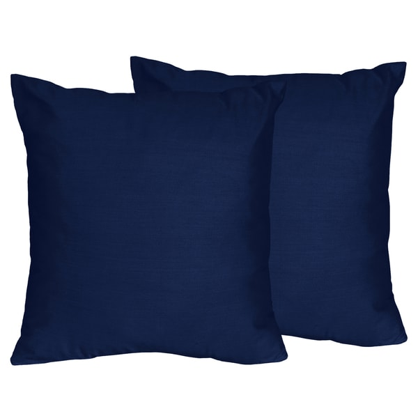 Sweet Jojo Designs Navy Blue Decorative Accent Throw Pillow (Set of 2)