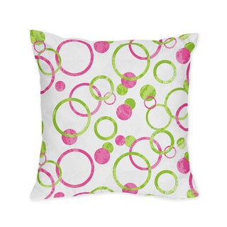 Sweet Jojo Designs Pink and Green Mod Circles Decorative Accent Throw Pillow