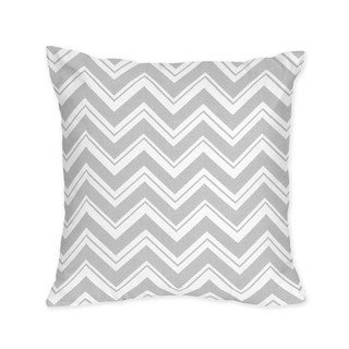 Sweet Jojo Designs Grey and Pink Zig Zag Decorative Accent Throw Pillow
