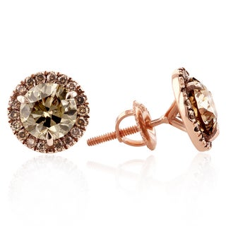 Annello 18k Rose Gold 3 2/5ct TDW Brown and Champagne Diamond Halo Stud Earrings