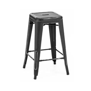 Amalfi Vintage Matte Black/Silver Steel Counter Stool (Set of 4)