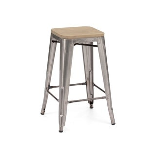 Amalfi Clear Gunmetal Light Elm Wood Steel Counter Stool (Set of 4)