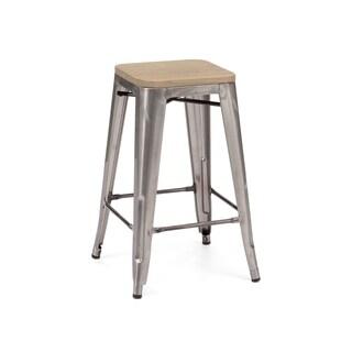 Amalfi Gunmetal Light Elm Wood Steel Counter Stool 26-inch (Set of 4) - tan