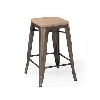 Amalfi Rustic Matte Light Elm Wood Steel Counter Stool (Set of 4)