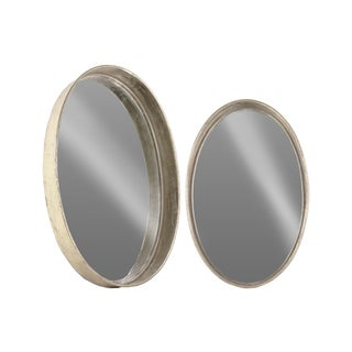 Tarnished Finish Antique Foil Silver/ Gold Metal Oval Wall Mirror (Set of 2)