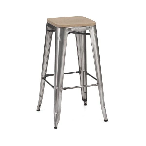 Amalfi Clear Gunmetal Light Elm Wood Steel Barstool Set