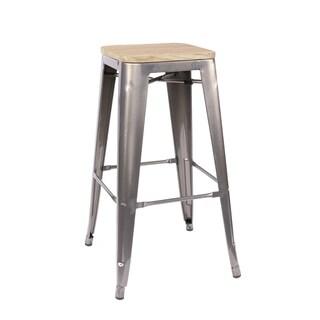 Amalfi Gunmetal Light Elm Wood Steel Barstool (Set of 4) - N/A