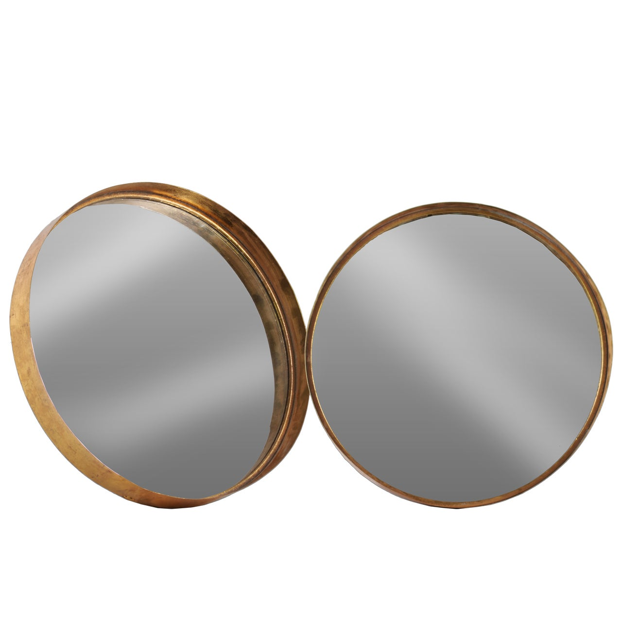 Shop Antique Rose Gold Tarnished Metal Round Wall Mirror Set Of 2 Overstock 12408763