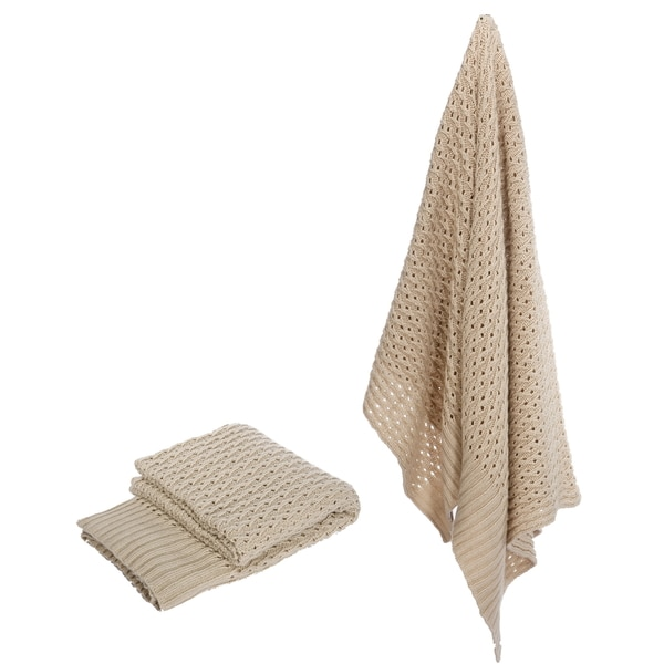 Knit Polyester Off-white 50 x 60-inch Throw