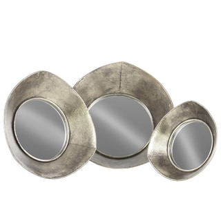 Urban Trends Collection Antique Silver Tarnished Finish Mirrored Metal Tray with Concave Reuleaux Triangle Sides (Set of 3)