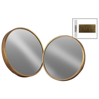 Urban Trends Tarnished Antique Goldtone Metal Round Wall Mirror (Set of 2)