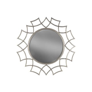 Metal Round Wall Mirror with Tarnished Silver Finish Sunburst Design Frame