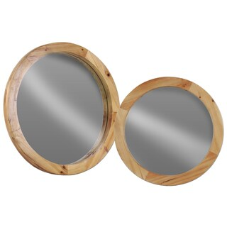 Natural Wood Finish Beige Wood Round Wall Mirror (Set of 2)
