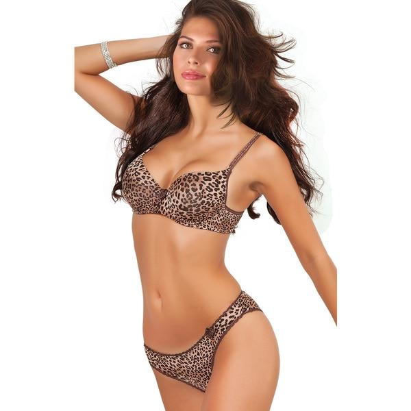 Women's Leopard Print Convertible Push-up Bra and Panty Set