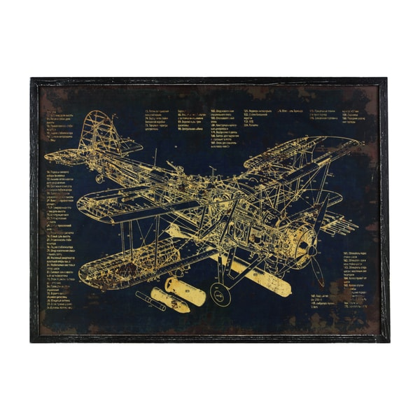 Urban trends collection aircraft blueprint black wood framed urban trends collection x27aircraft blueprintx27 black wood framed rectangular malvernweather Gallery