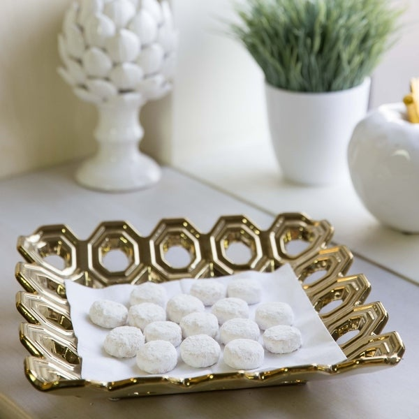 UTC35313: Ceramic Square Concave Tray with Perforated Circle Design Polished Chrome Finish Gold