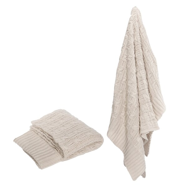 Polyester Knit 50 x 60-inch Off-white Throw