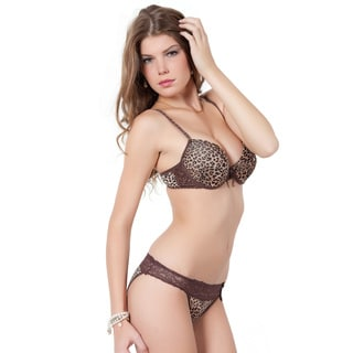 Women's Leopard-print Plunge Convertible Bra and Panty Set