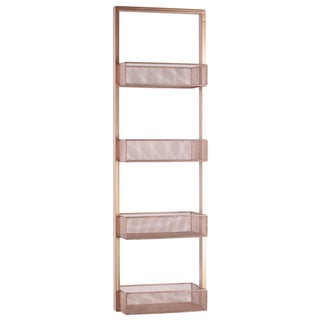 Urban Trends Collection Coated Rose Gold Finish Iron Shelf with 4 Wire Mesh Bins