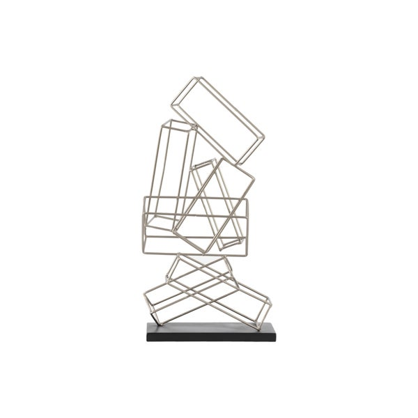 Urban Trends Collection Silver Finish Metal Cascading Rectangular Prisms Sculpture